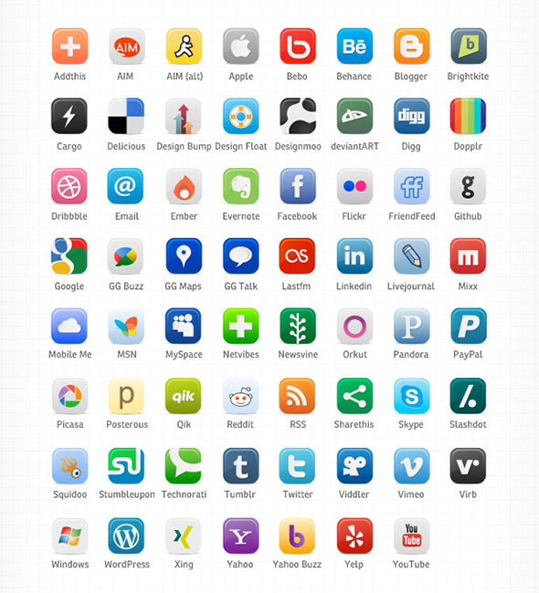 Buddycons – Vector Social Media Icons white