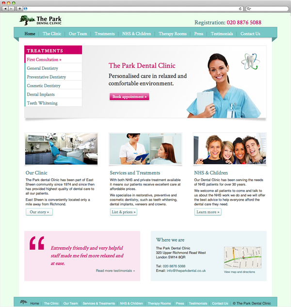 The Park Dental Clinic - website home page