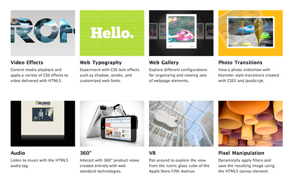 Apple HTML5 and CSS3 showcase page