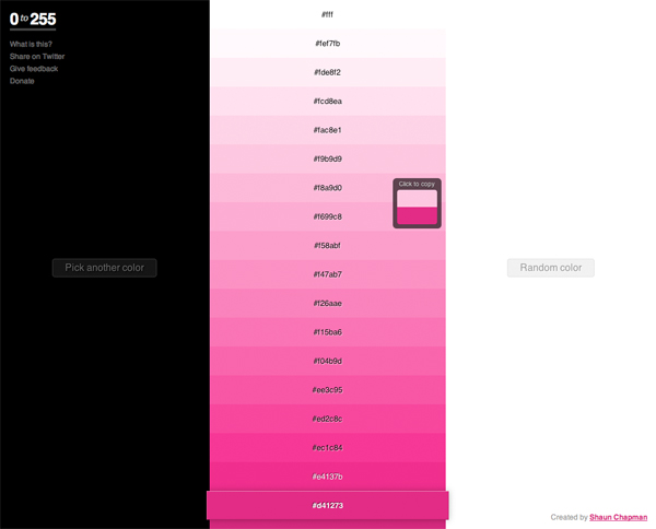 0to255 helps web designers find lighter and darker #colors