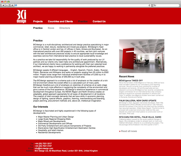 BCi Design - website practice page