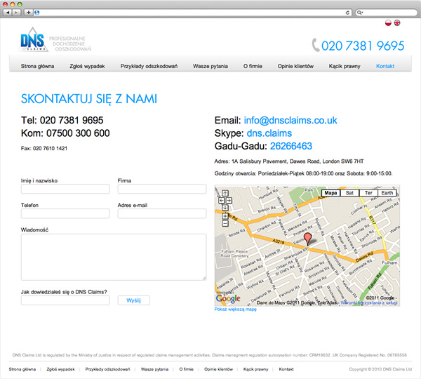DNS Claims - website kontakt page