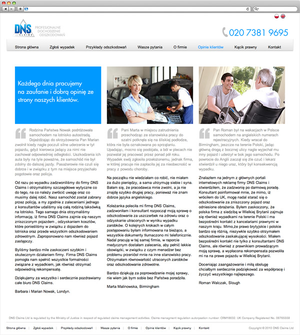 DNS Claims - website opinie klientow page