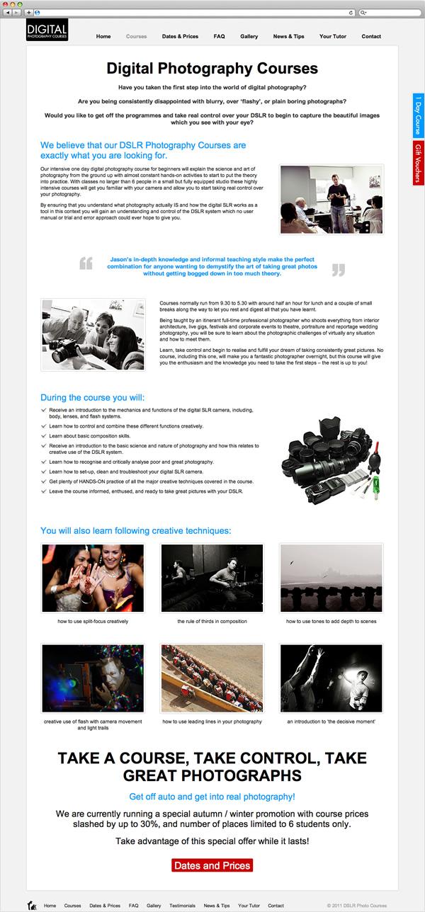 DSLR Photography Courses - website courses page