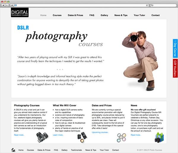 DSLR Photography Courses - website home page