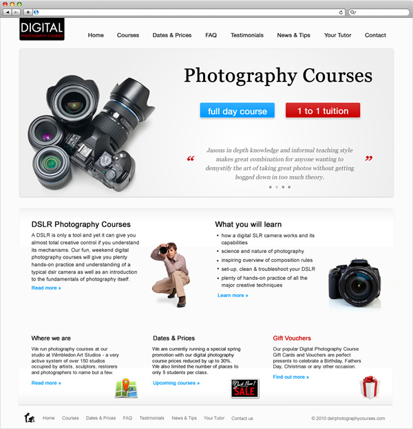 DSLR Photography Courses - website new home page