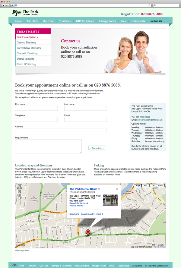 The Park Dental Clinic - contact page